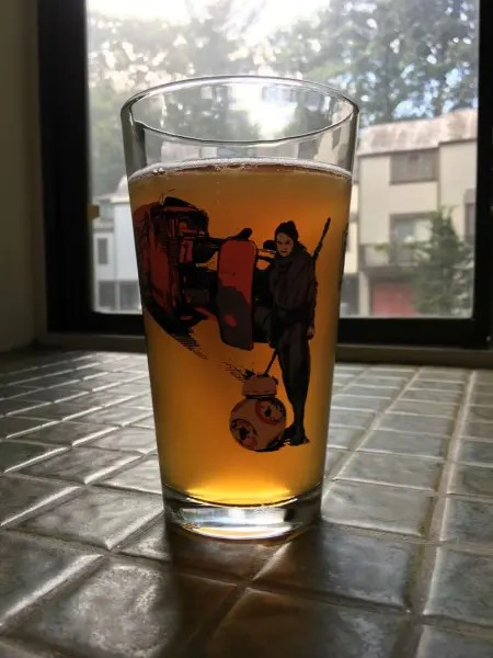 """A Bretter Day"" Ale looks great in a 'Force Awakens' pint glass"