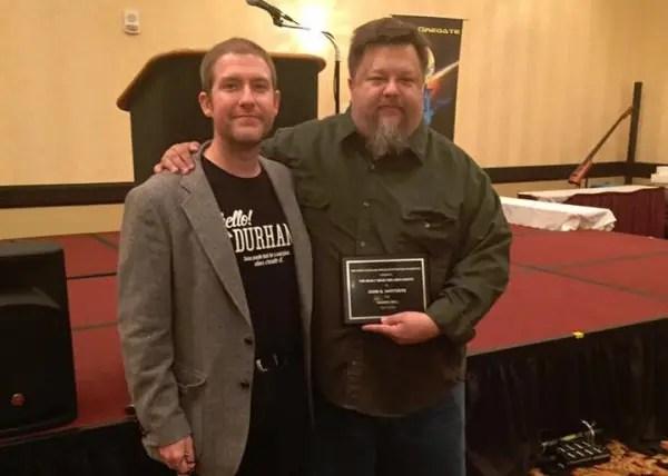 Award winner Hartness (right) with Samuel Montgomery-Blinn of NCSFF