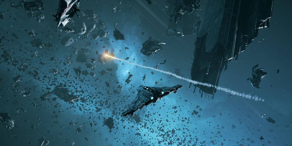 A third person view of a ship in Everspace as it fires a missile across a blue smoky nebula background.