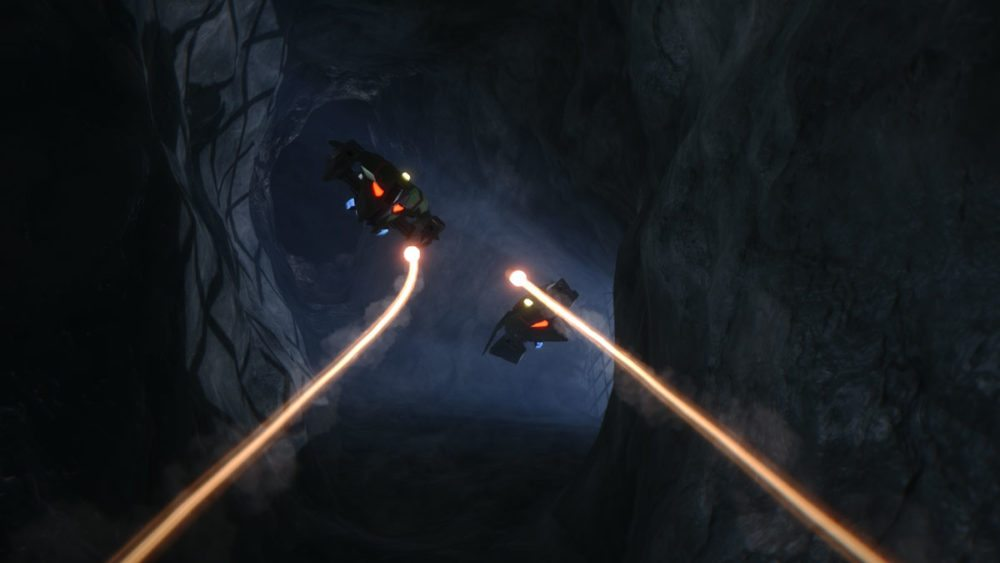 Drones in a dark tunnel project beam lasers towards the screen in Overload.