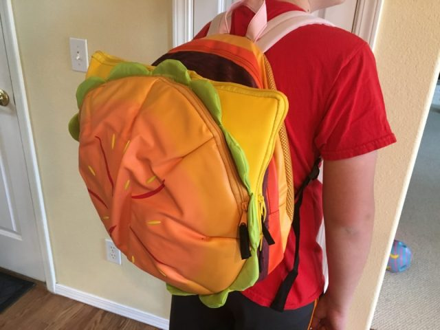 A closeup look at the backpack. The wrinkled bun smoothed itself out after a couple days. Image credit: Patricia Vollmer