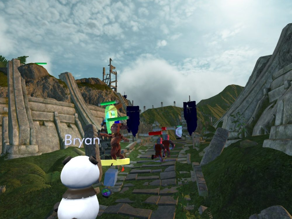 A panda avatar named Bryan is spawning in a camera to send out footage from a game in virtual reality.
