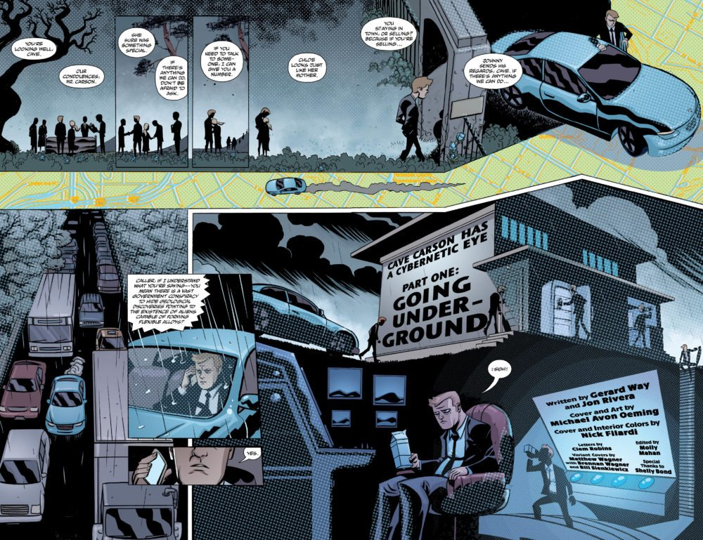 """pages 2-3 of """"Cave Carson Has a Cybernetic Eye."""" Art by Michael Avon Oeming."""