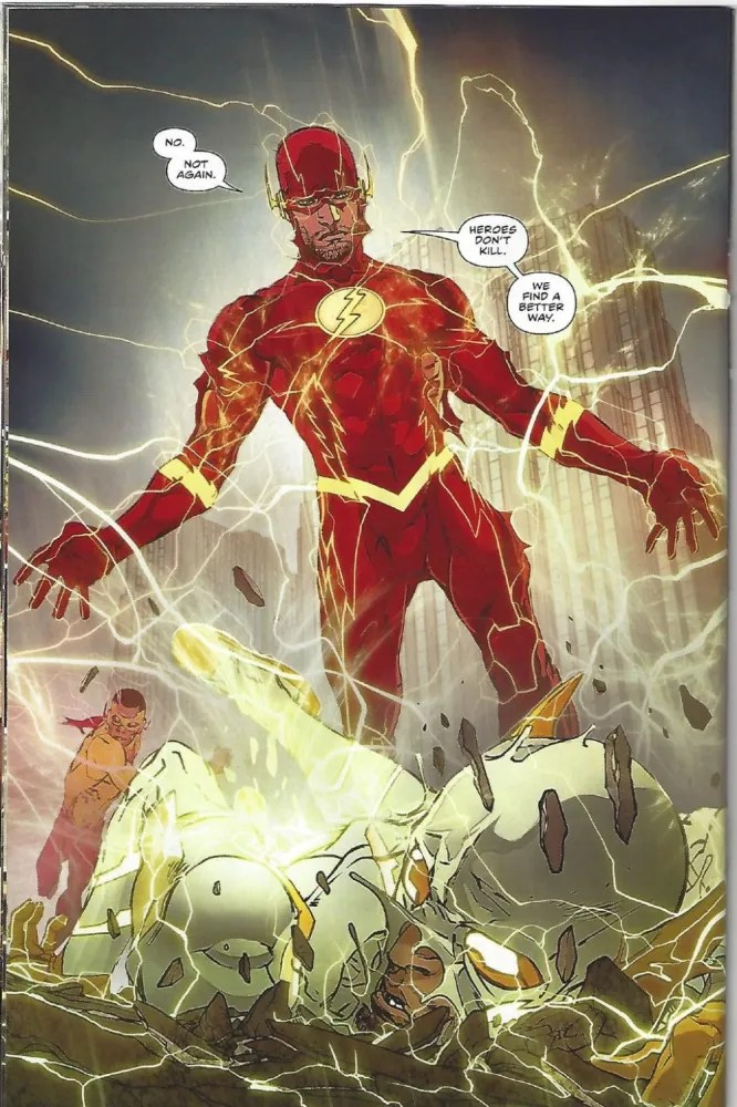 Barry Allen, telling his adversary what makes a hero. image copyright DC Comics.