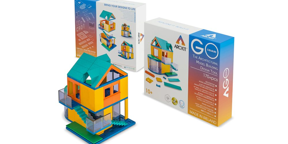 The Arckit Go Colours kit features modern colors and pieces designed for younger potential Architects.