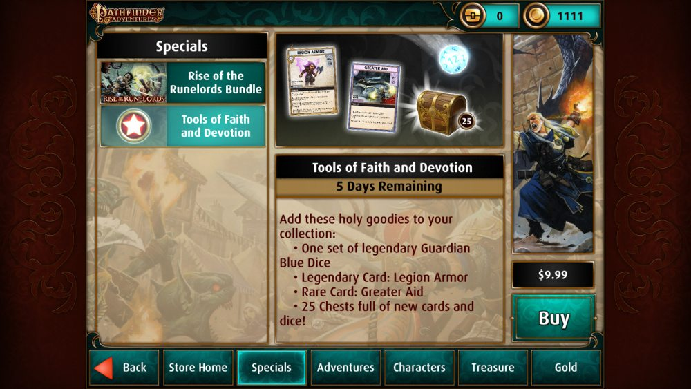 "The sale screen for the Pathfinder Adventures purchase ""Tools of Faith and Devotion."""