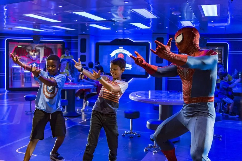 Spider-Man appears in person to help children hone their spider senses by perfecting their skills of reflex, speed and sharp minds. Children work on their web-slinging and then get to see themselves in the headlines of the Daily Bugle. (Matt Stroshane, photographer)