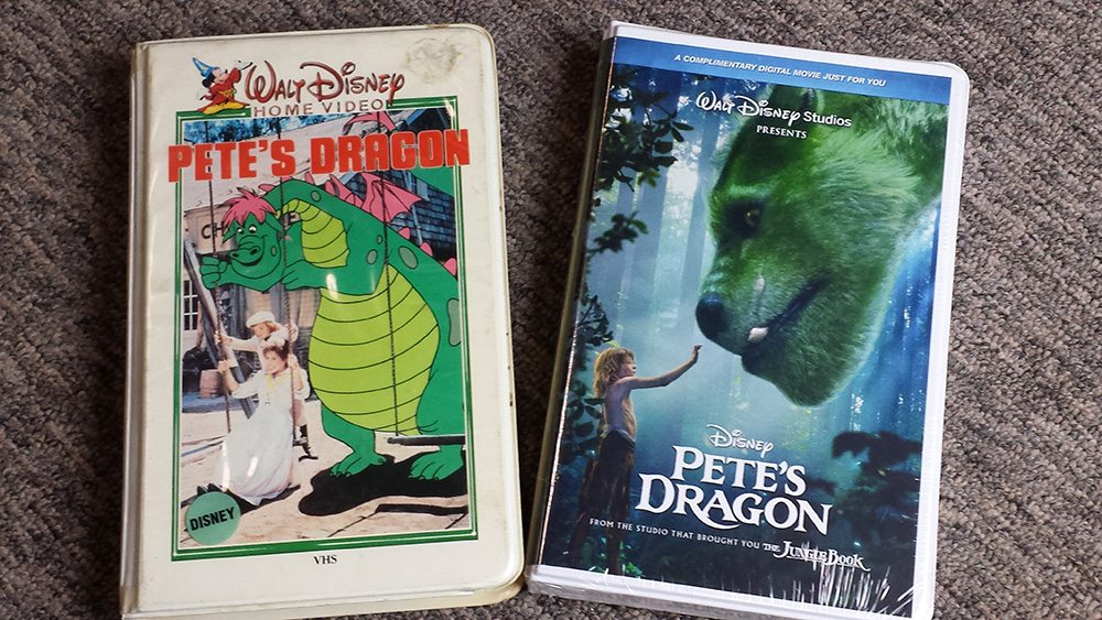The original Pete's Dragon 1980 VHS release next to the 2016 promotional mock-up by Disney.