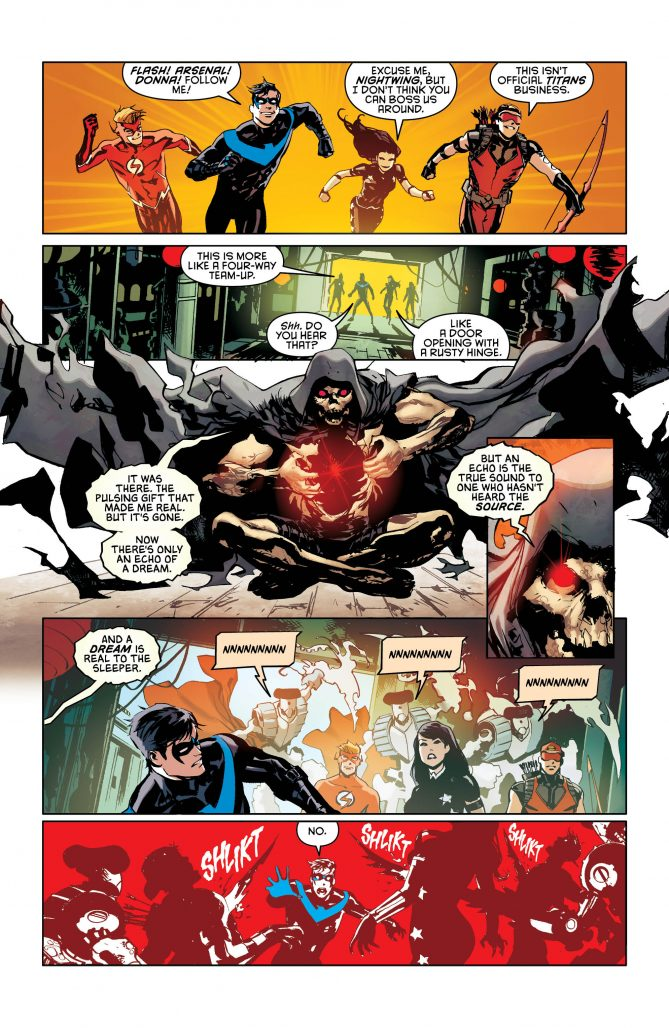 Nightwing and friends in the dream sequence, images via DC Comics