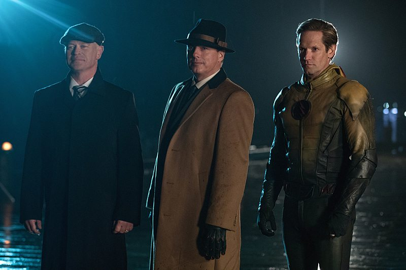 """DC's Legends of Tomorrow --""""The Chicago Way""""-- LGN208a_0307.jpg -- Pictured (L-R): Neal McDonough as Damien Darhk, John Barrowman as Malcolm Merlyn and Matthew Letscher as Eobard Thawne -- Photo: Jack Rowand/The CW -- © 2016 The CW Network, LLC. All Rights Reserved"""