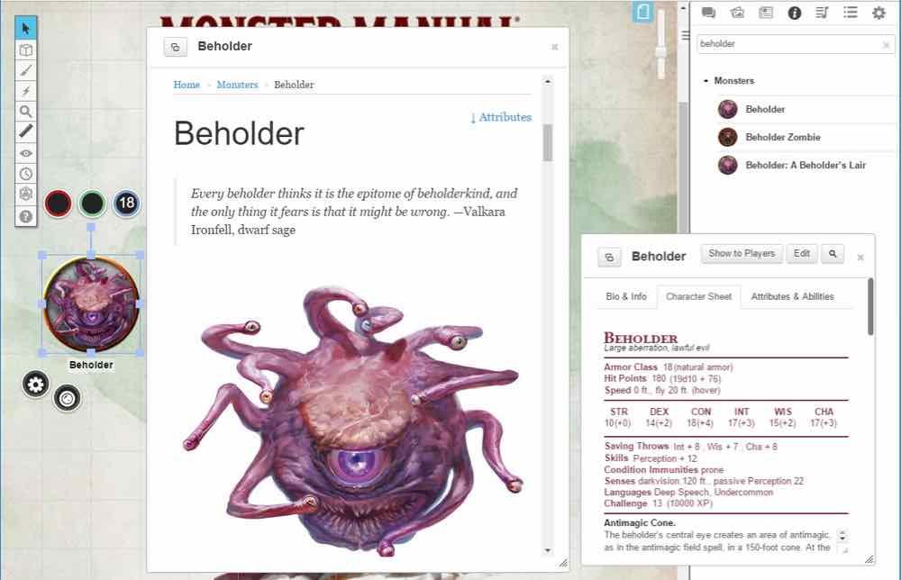 Beholder from Monster Manual on Roll20
