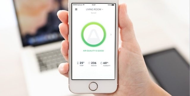 The Airthings Wave radon monitor syncs with an app to share real-time and long-term data.