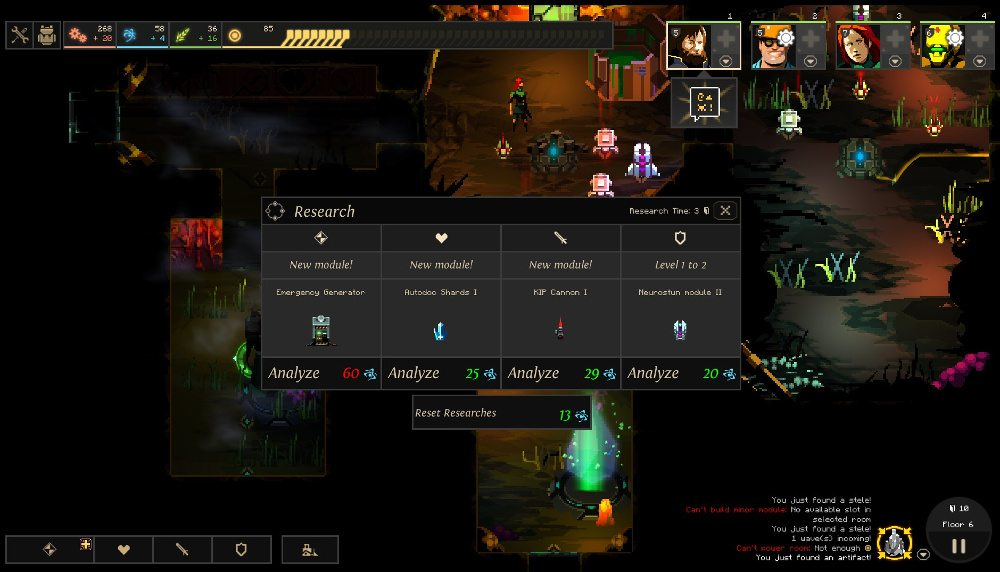A pop-up in Dungeon of the Endless, showing four research opportunities, for varying research costs.