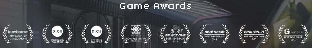 A screen shot from the Dungeon of the Endless web site, showcasing eight awards.