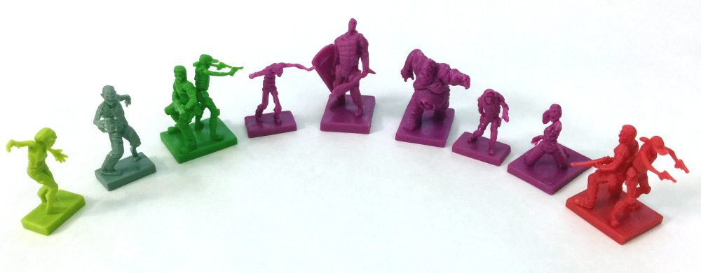 Selection of each miniature type from Zpocalypse 2.