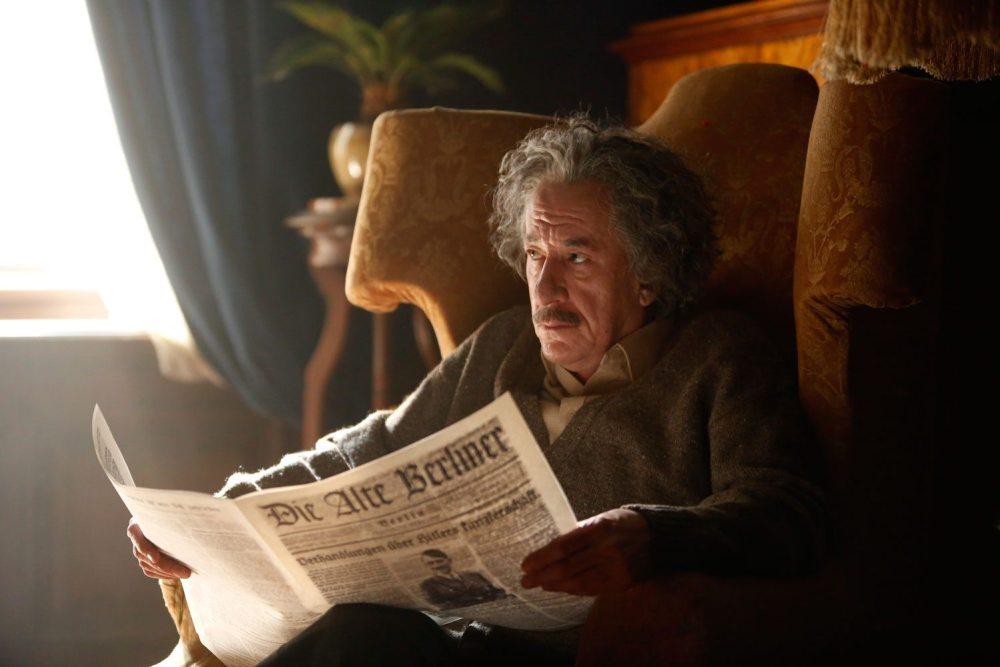 Geoffrey Rush as Albert Einstein.