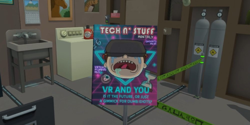 """The cover for """"Tech 'n Stuff"""" with the subtitle """"VR and You Is it the future or just a gimmick for dumb idiots?"""" and teasers for """"Virtual Plumbus"""" and """"Gadgets"""""""