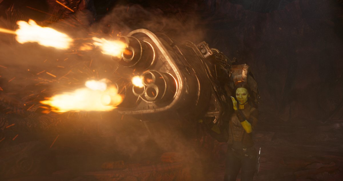 Gamora and a big gun in Guardians of the Galaxy Vol. 2