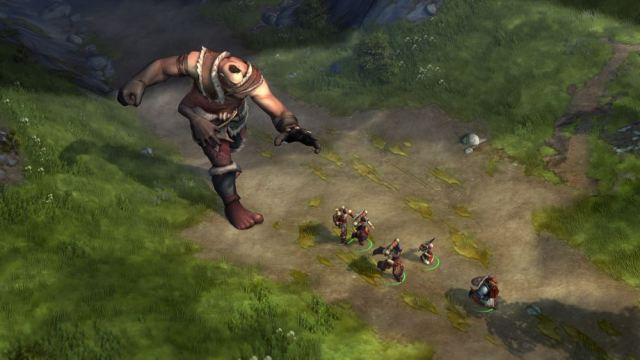 Image of Pathfinder: Kingmaker characters running from Giant