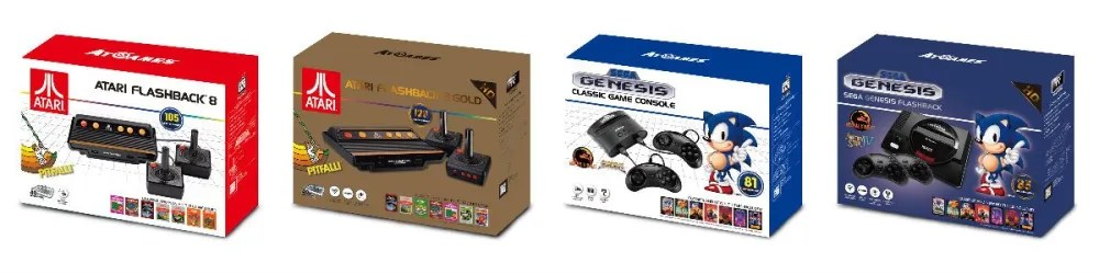 Box art for Atari and Sega Genesis Classic Consoles