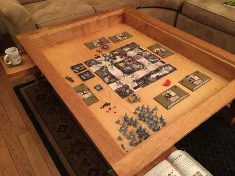 Geek Chic Gone  Build Your Own Gaming Table    GeekDad Zombicide set up in gaming table