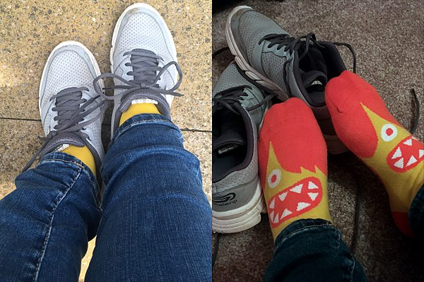 My socks at the beginning and end of the day, Image: Sophie Brown