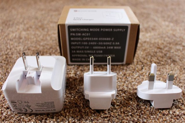 Syncwire with adaptors for European & British outlets, Image: Sophie Brown