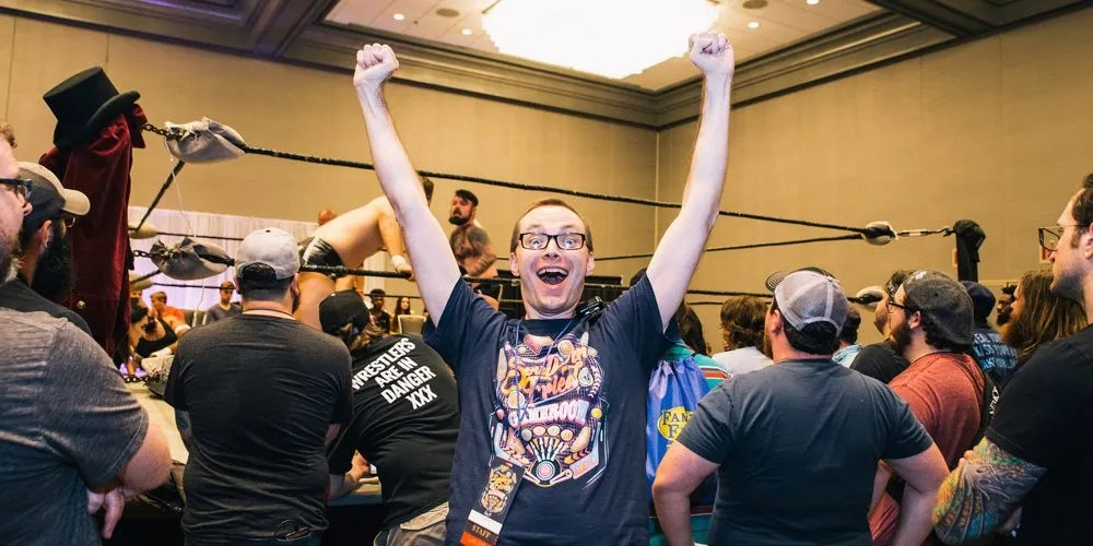 Man celebrating wrestling
