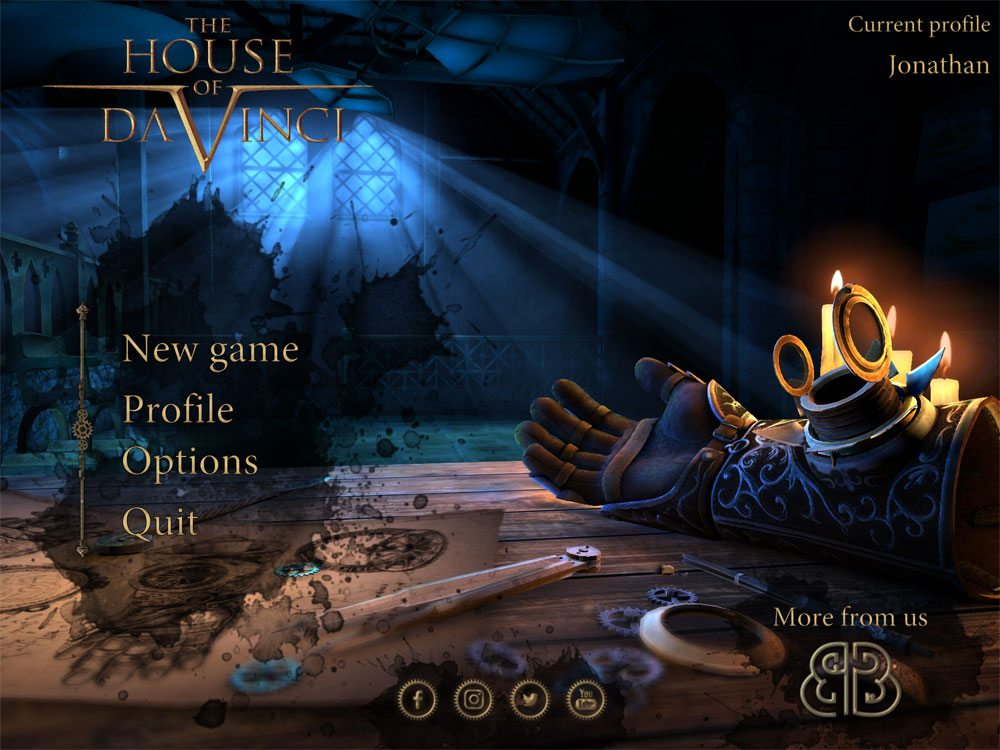 The House of Da Vinci menu screen