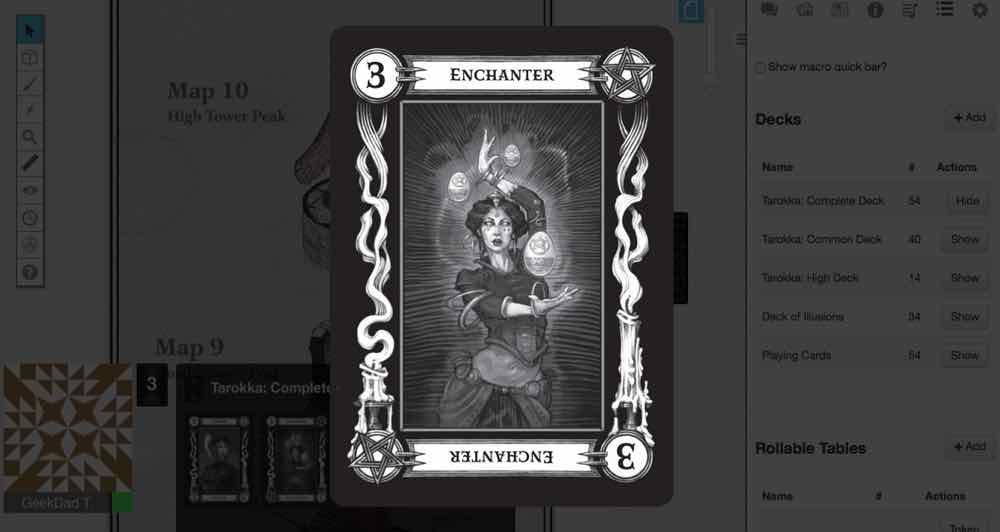 Screen shot of Tarokka deck for Curse of Strahd on Roll20