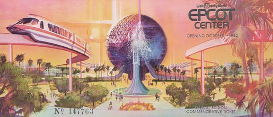 EPCOT Opening Day Ticket, Image: Matt Novak via The Smithsonian
