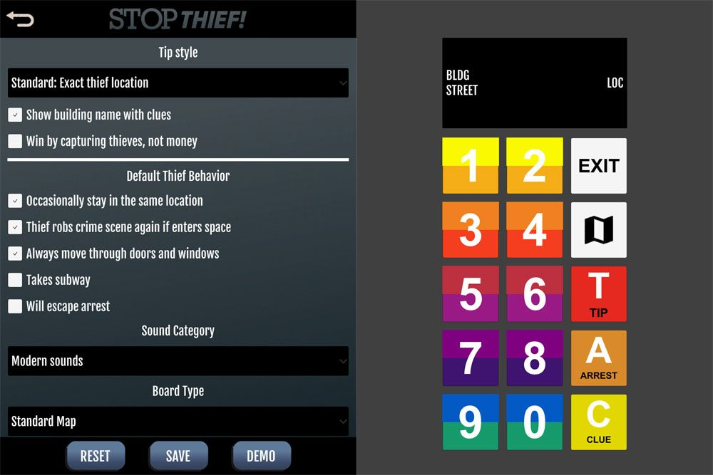 Stop Thief! app options