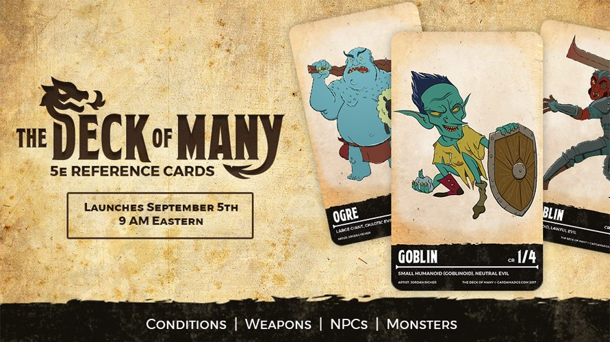 Kickstarter Tabletop Alert: The Deck of Many: DnD 5e Reference Cards