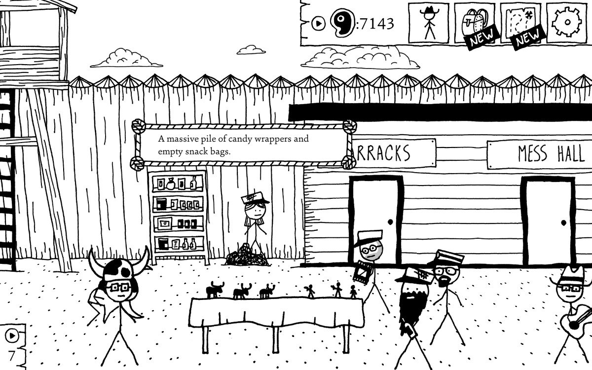 Stick figure people in an old wooden fort, with 3 bearded men engaged in a tabletop miniatures battle game.