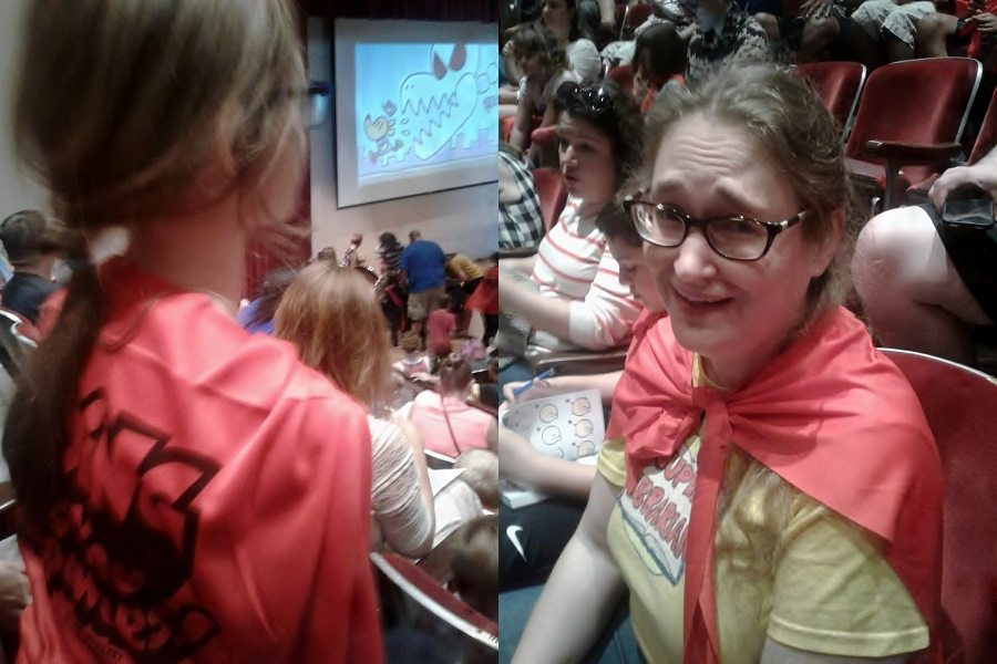 "Two pics side by side of people wearing ""Reading Gives You Superpowers!"" capes"