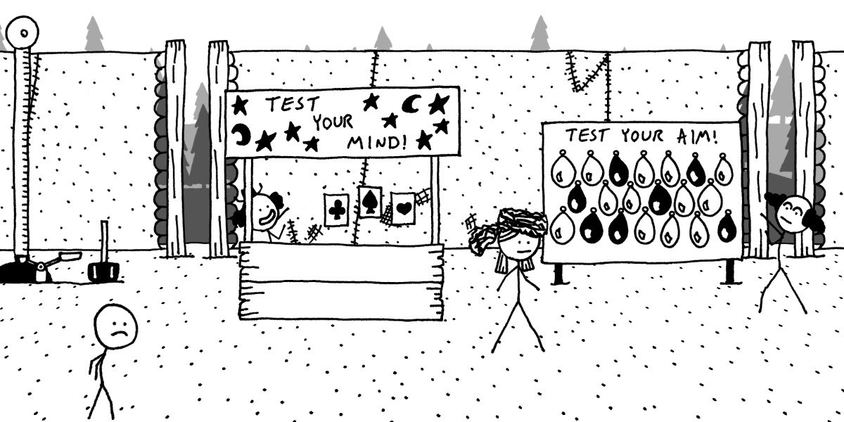 The hero stands in front of clowns at the games section of a circus in West of Loathing.