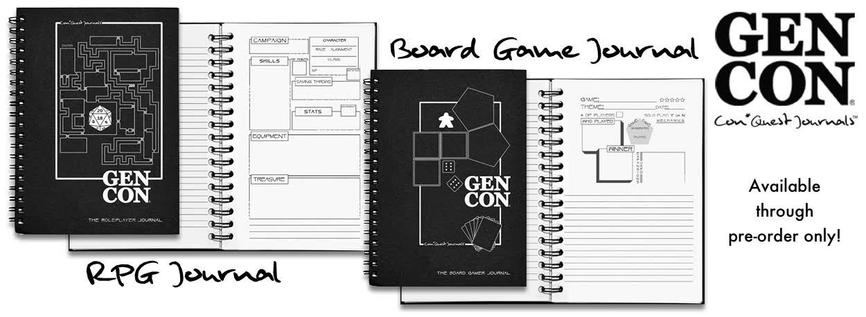 New Boardgame and RPG Journals from Con*Quest Journal