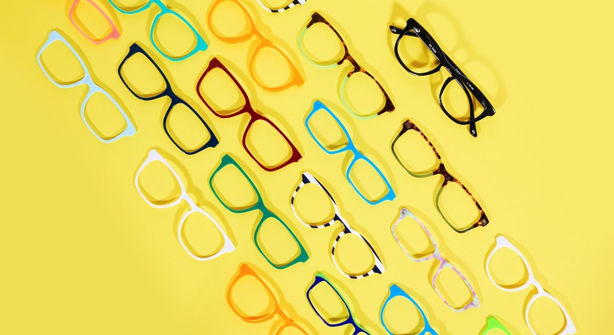 A selection of top frames and a base frame from Pair Eyewear