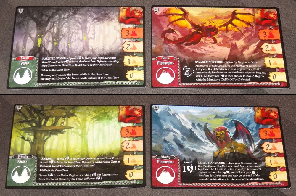 Tiny Epic Defenders: The Dark War region cards
