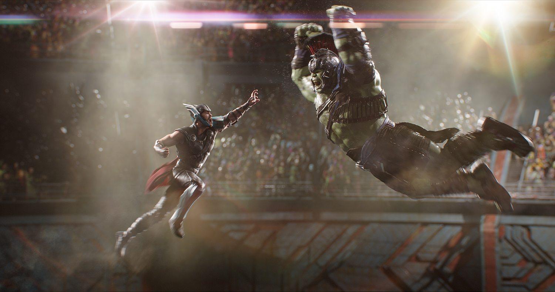 Thor (Chris Hemsworth) and Hulk (Mark Ruffalo) in the grudge-match of the century.