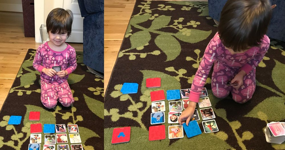 Codenames: Disney Family Edition - 4-year-old playing