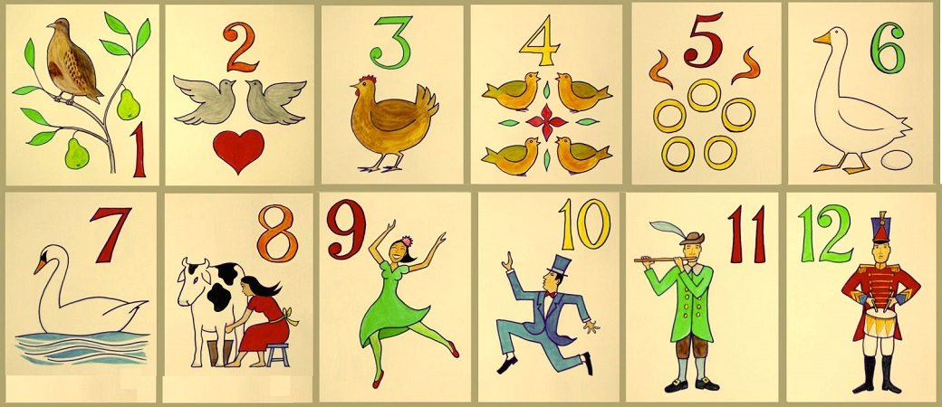 Twelve numbered cards illustrating the gifts in the song