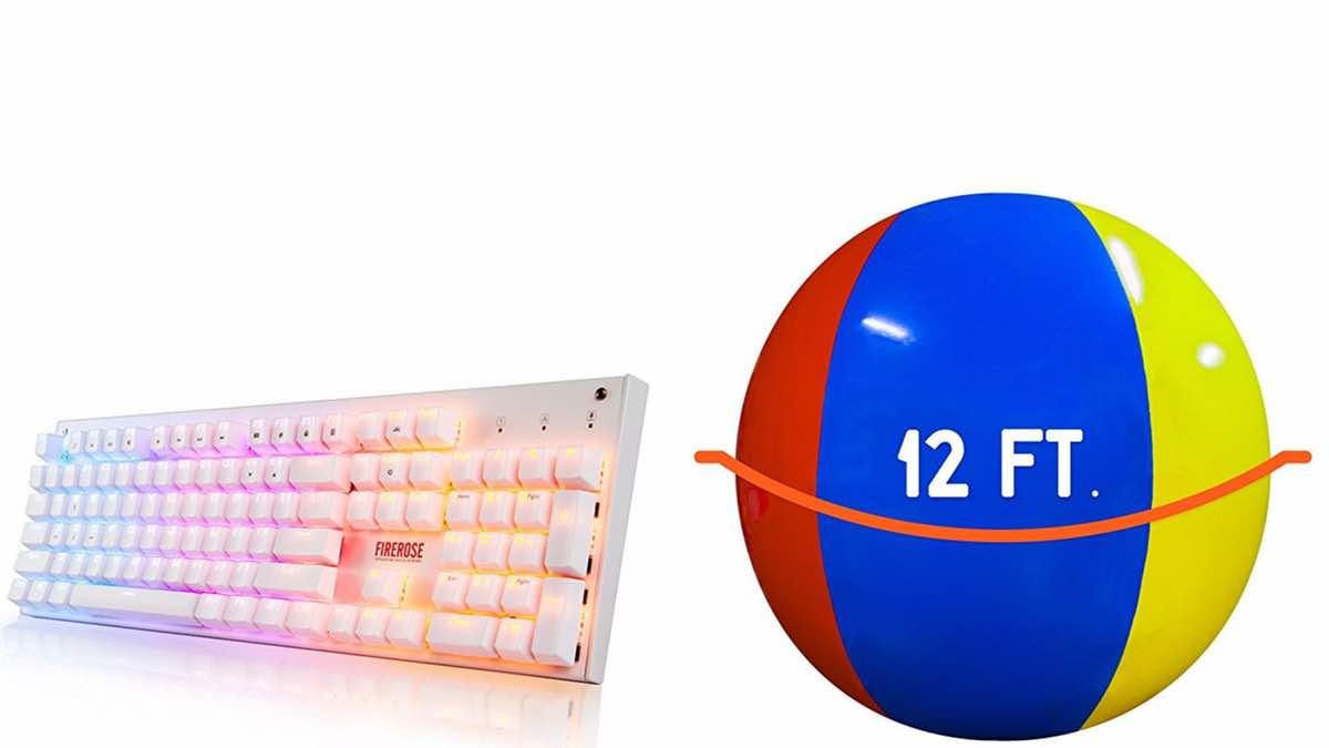 Geek Daily Deals 040118 LED keyboard giant beach ball