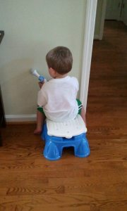 Son on the potty