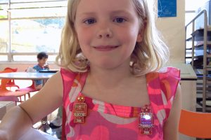 Dulcie and her Robot Badges