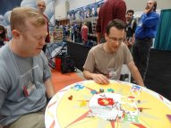 GeekDads Dave and John give Roll For It a whirl at Calliope Games. (John won pretty handily.)