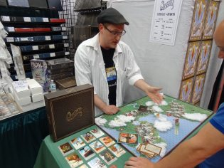 Paul Imboden of Split Second Games shows off Quicksilver, an airship racing game—one of my favorite Kickstarter rewards.