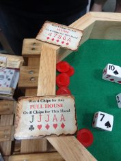 """For """"Square Shooters"""" you try to get various card combos by rolling the dice."""