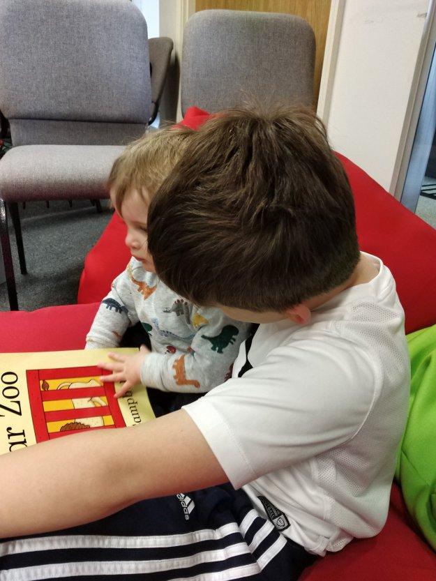 Alfie reading
