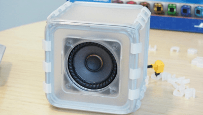 The BOSEbuild Speaker Cube educational kit isn't quite fully formed